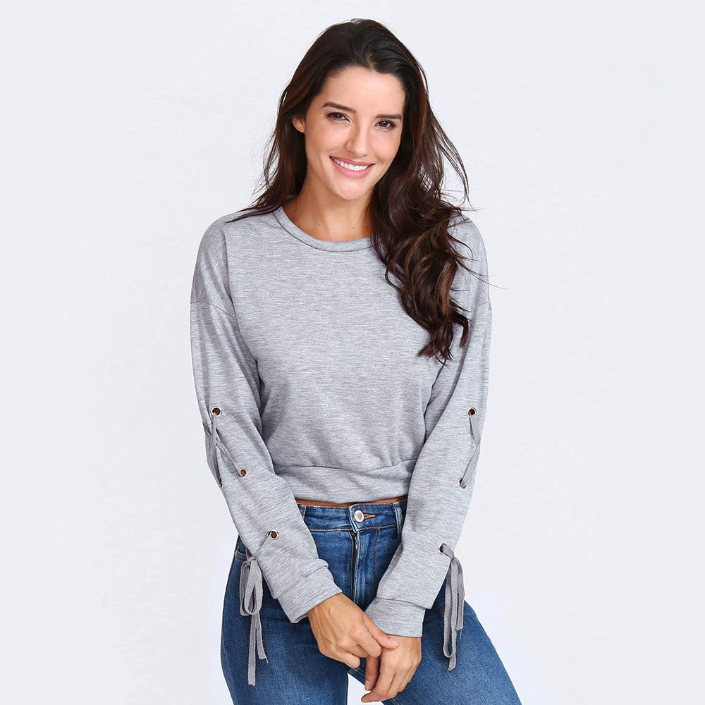 Keepfit Crop Tops for Teen Girls Womens Solid Color Lace Up Long Sleeve Crop Sweatshirt Pullover