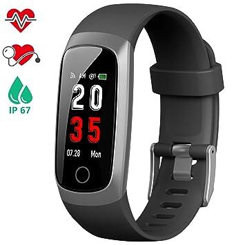 iPosible Pulsera Actividad, Reloj Inteligente Hombre Mujer con Pulsómetro Presión Arterial Pulsera Inteligente con Cronómetro Pulsera Podómetro Impermeable ...