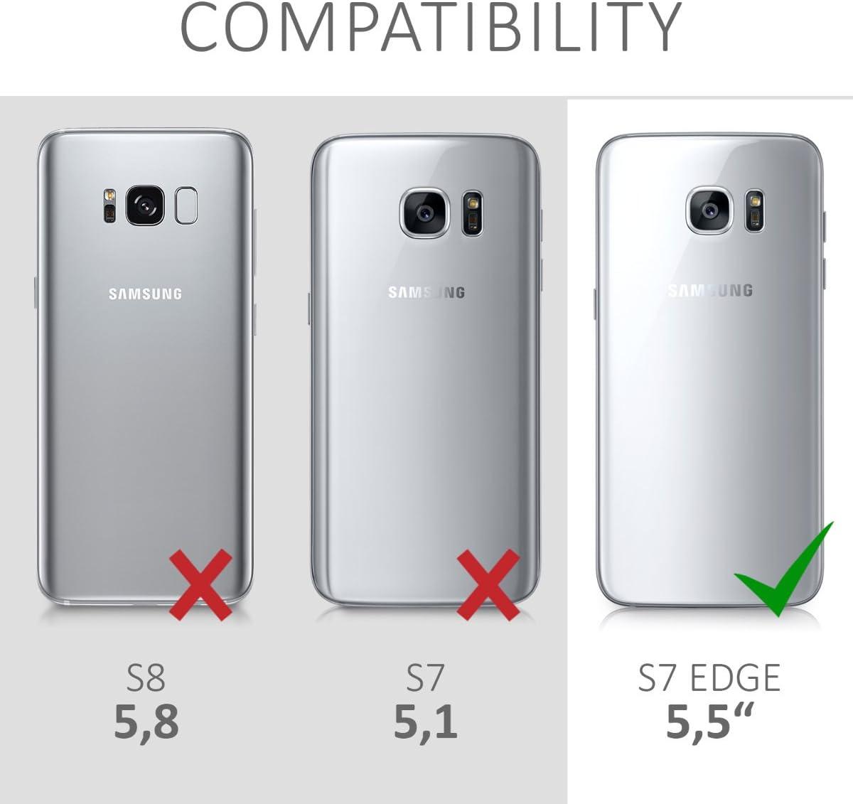 kwmobile Coque Compatible avec Samsung Galaxy S7 Edge Housse Protectrice pour T/él/éphone en Silicone Rose Clair-Blanc-Transparent