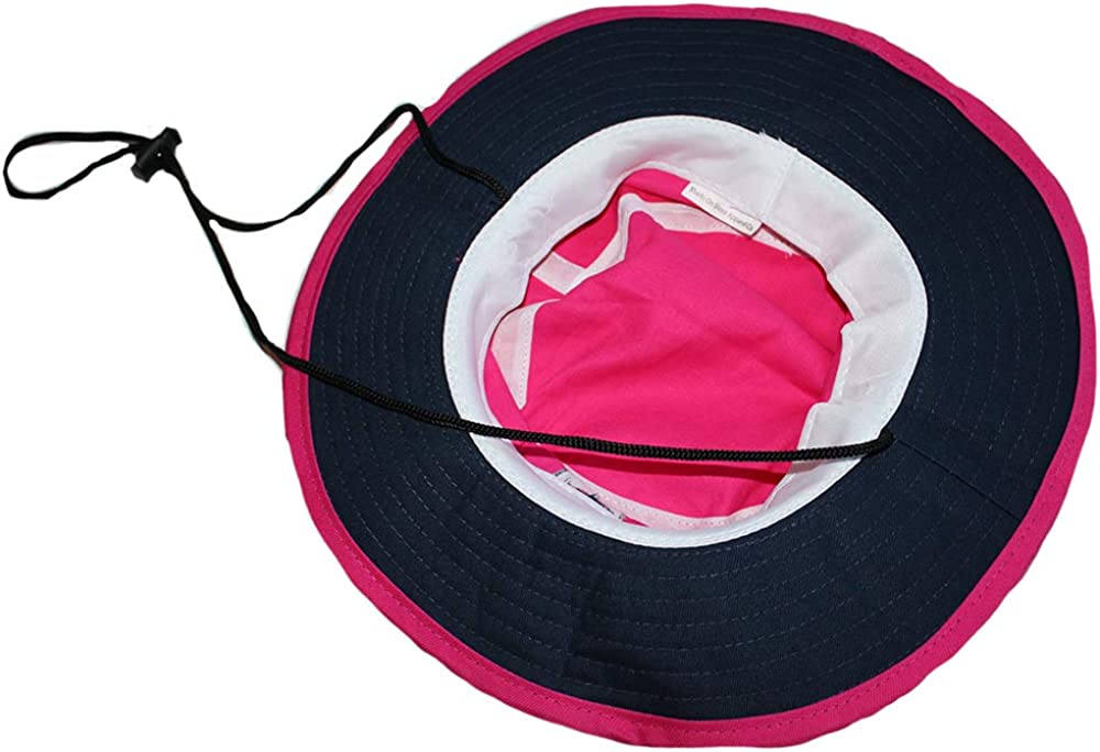 Sharks On Shore Classic UPF 50 Hot Pink Bucket Hat with Navy Under Brim and Circle Shark Logo for Boaters and Beachgoers