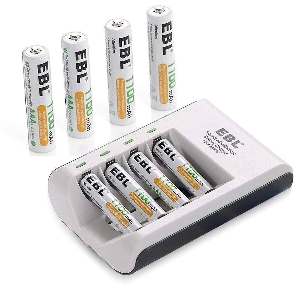 EBL 4 Piles AAA 1100mAh + Chargeur de Piles Rapide avec 4 Slots pour Piles AA AAA Ni-Mh Rechargeables