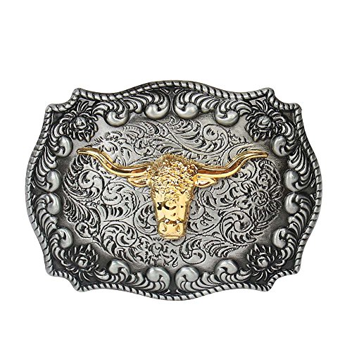Long Horn Bull Western Belt Buckle