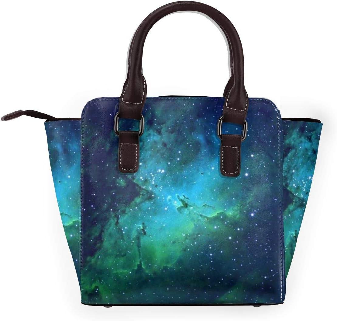 GHUJAOOHIJIO Galaxy Green Womens Rivet PU Leather Tote Bag Shoulder Bag Purse