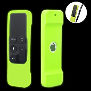 [Nightglow Green] Case for Apple TV 4K / 4th Gen Remote, Akwox Light Weight [Anti Slip] Shock Proof Silicone Cover for Apple TV 4K Siri Remote Controller [Lanyard Included]
