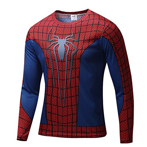 HOCOOL Mens Spider Men Halloween Costume Shirt Slim Fit Gym Tee(Red) 2XL (High End Halloween Costumes For Couples)