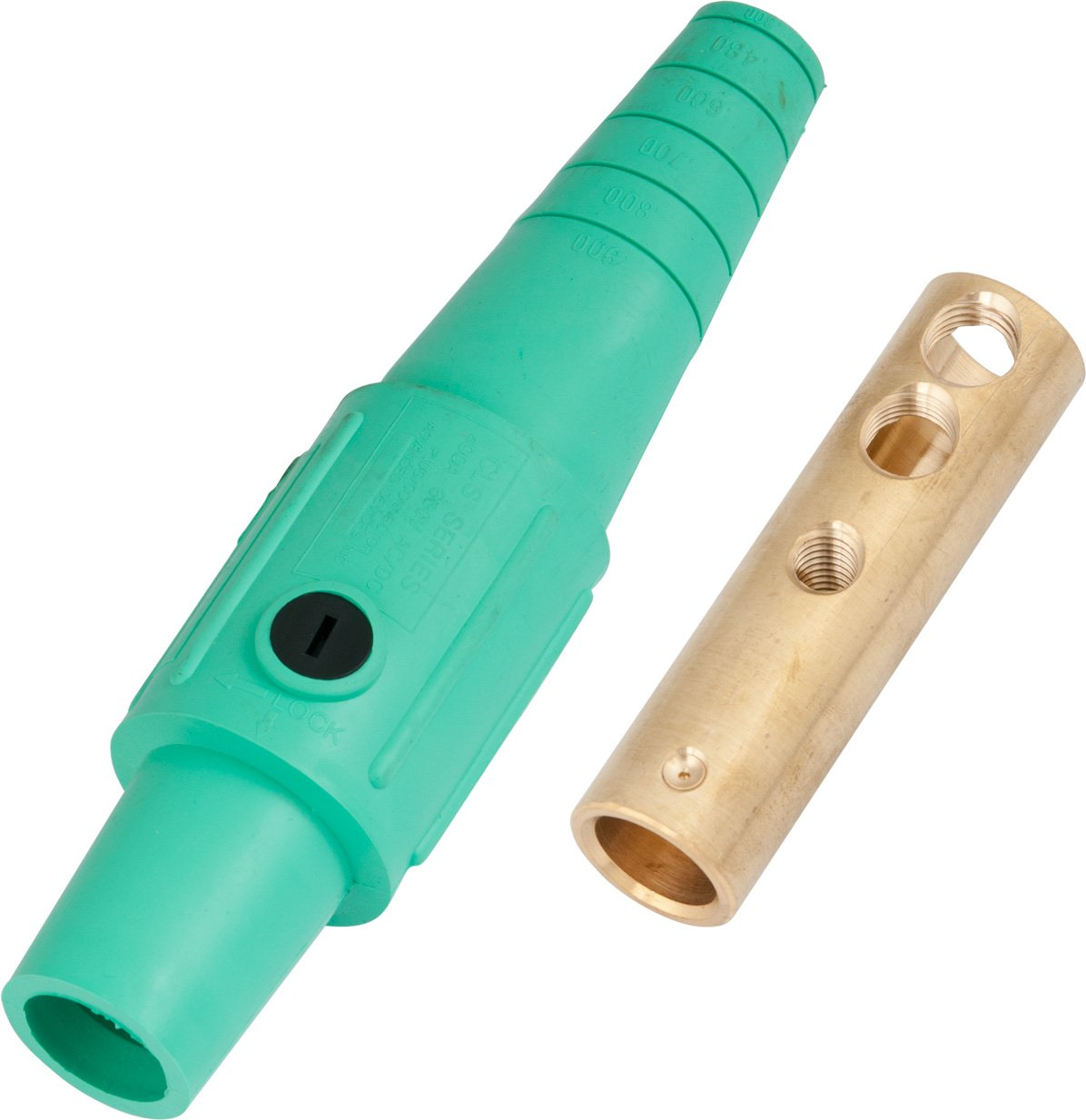 Marinco CLS40FB-E CLS Cam Type, Series 16 Inline, Single Pin Connector, 400 Amp, 600 Volt, 2/0-4/0 AWG, Female - Green (E) Marinco Power Products