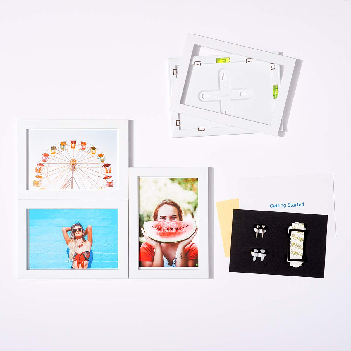 MAGNAFRAME Magnetic Picture Frames for Classic 4x6 Size Photos - Photo Gallery 4 Pack (White)