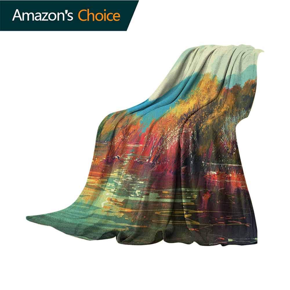 Art pet Blanket,Surreal Autumn Forest with Faded Trees by The Lake Before Mountains Fall Season Image Soft Summer Cooling Lightweight Bed Blanket,50'' Wx60 L Multicolor