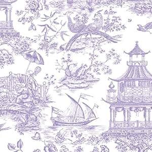 Caspari - Papel de regalo, 76 x 150 cm, diseño con motivos chinos, color violeta y blanco