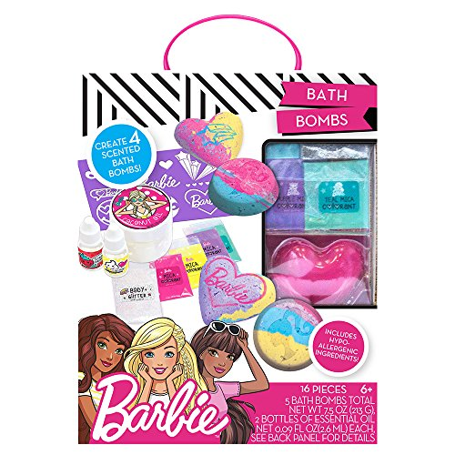 Barbie by Horizon Group USA Make Your Own Bath Bomb Kit, Makes Four Custom Bath Bombs, Multi Colored