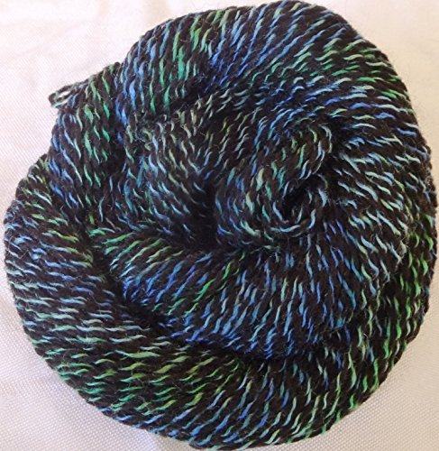 Sargasso Sea Black twisted with blue, teal green sport weight knitting crochet yarn