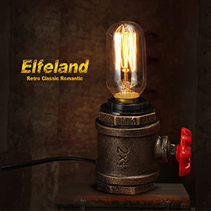 Vintage Table Lamp, Elfeland Retro Lamp Desk Steampunk Accent Light Edison  Lamp Base Industrial Wrought