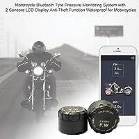 Demiawaking Sistema di Monitoraggio della Pressione dei Pneumatici Moto TPMS Moto con 2 Sensori Esterni Display LCD Facile e Preciso