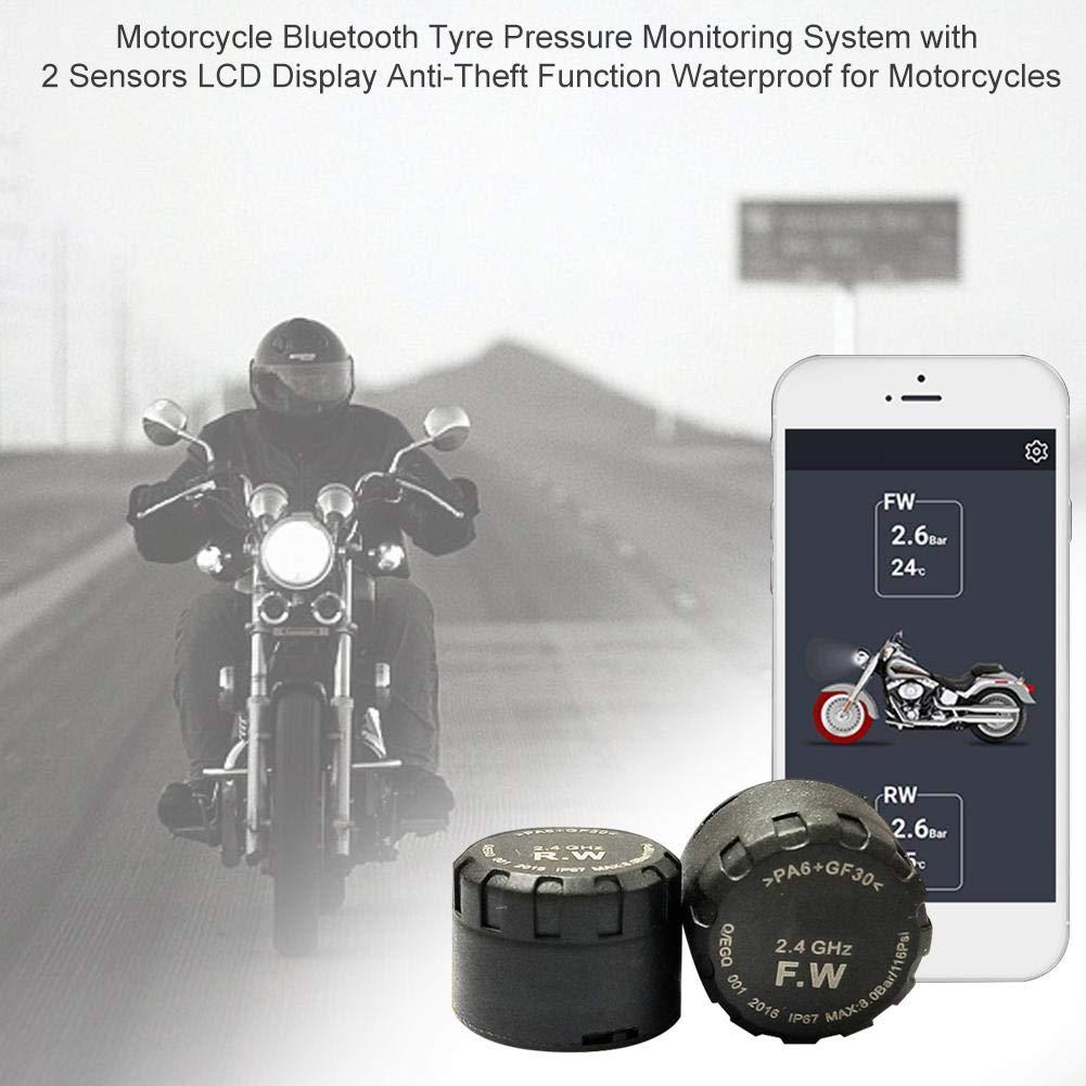 Display LCD per Motocicletta Funzione antifurto Impermeabile per motocicli Sistema di monitoraggio della Pressione dei Pneumatici Bluetooth con 2 sensori