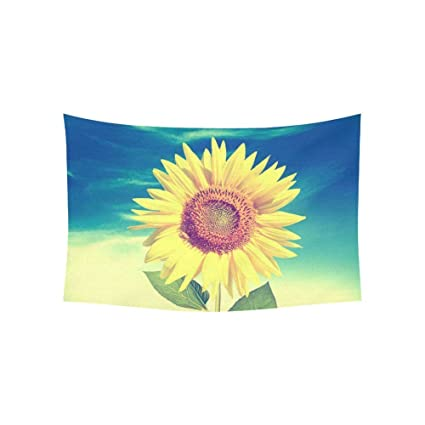 Amazon.com: Custom Blue Sky Vintage Big Sunflower Tapestry Wall ...