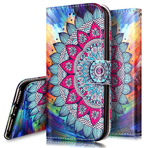 Phezen Iphone 8 Plus Case Iphone 7 Plus Wallet Case  Totem Henna Mandala Floral Design Pu Leather Wallet Case With Card Slots Stand Book Style Folio Flip Cover For Iphone 7 Plus 8 Plus  Henna Mandala