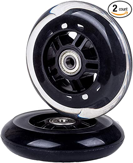 Black Little World 2Pcs Scooter Replacement Wheels 100mm for Scooter with Bearings