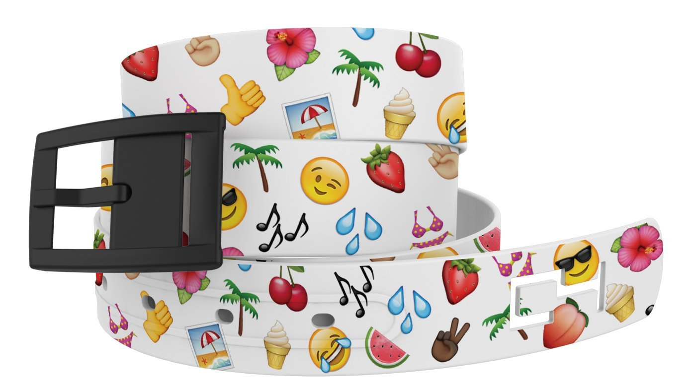 C4 Design Belt: Summer Emoji Strap/Black Buckle - Fashion Belt - Waist Belt for Women and Men