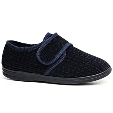12e0bc586a DIABETIC ORTHOPAEDIC MENS EASY CLOSE WIDE FITTING TOUCH CLOSE BAR STRAP SHOE  SLIPPER (7,