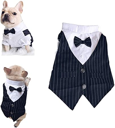 Meioro Pet Clothes Dog Shirt Tuxedo Bow Tie Shirt Suitable for Wedding Party Puppy French Bulldog Pug