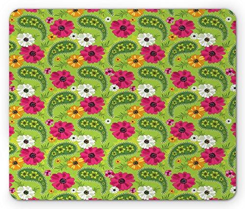 use Pad, Floral Pattern with Vivid Paisley Print Old Vintage Boho Style Decor, Standard Size Rectangle Non-Slip Rubber Mousepad, Pistachio Pink Orange ()
