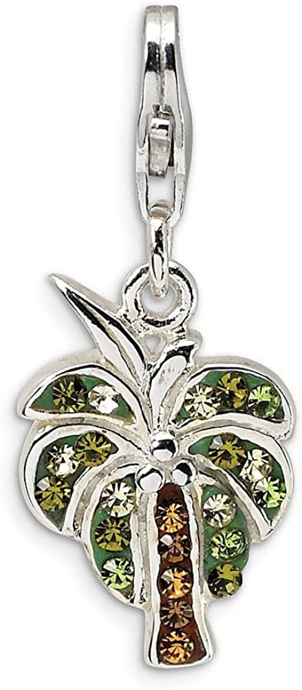Solid 925 Sterling Silver Enamel CZ Cubic Zirconia Swarovski Element Camera with Lobster Clasp Pendant Charm 15mm x 33mm