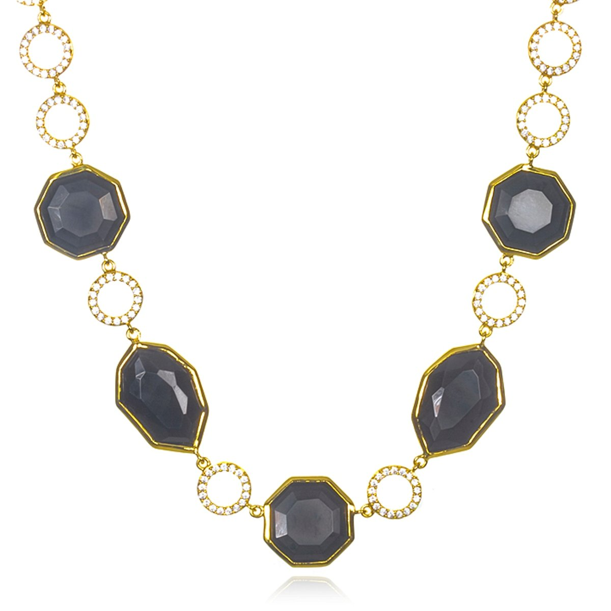 Gold Plated Silver Onyx Designer Master Piece Necklace -18''