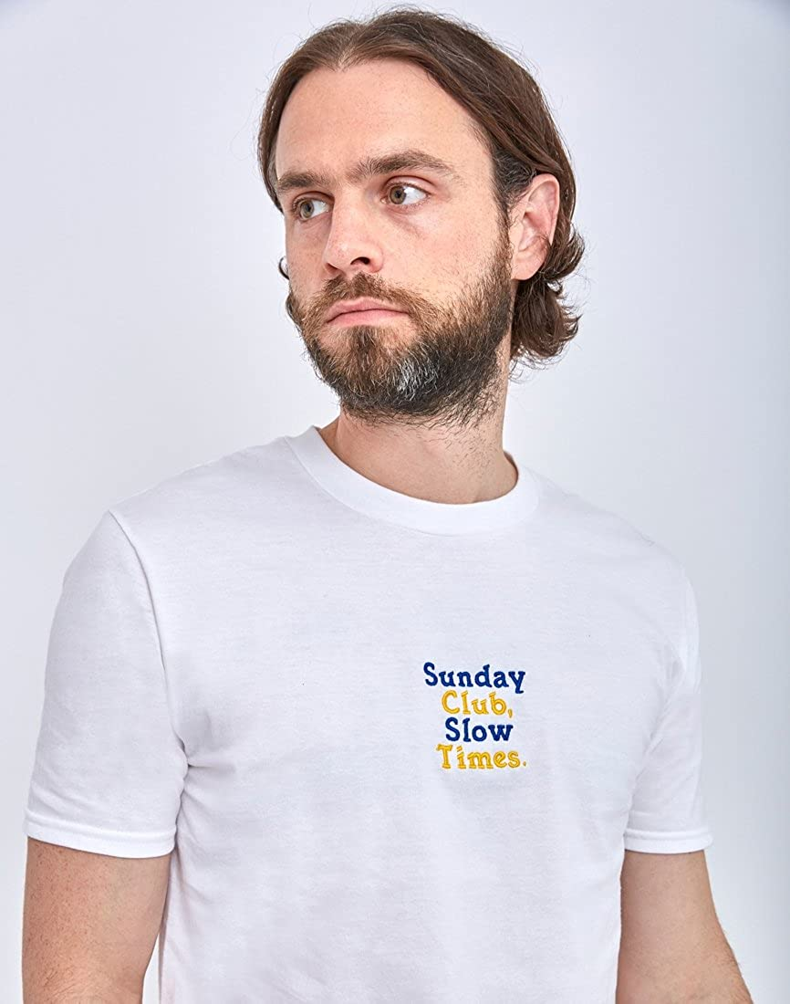 ef5d46f84d The Idle Man Sunday Club Slow Times Embroidery T-Shirt White - White - L   Amazon.co.uk  Clothing