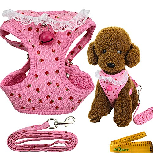 Adjustable Dog Cat Pet Vest Harness and Leash Set with Bell for Small Dogs Cats Pets Pink Strawberry (Strawberry Bell)