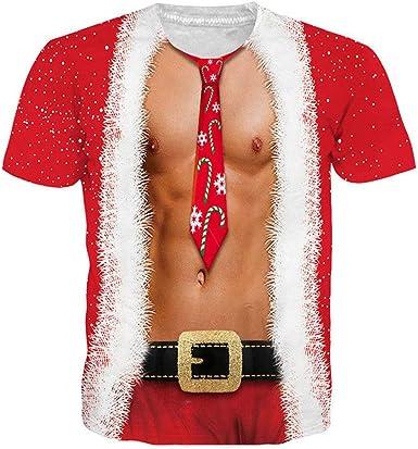 Navidad Camiseta Hombre Invierno Unisex Manga Corta 3D Impresión Moda Casual T-Shirt Blusas Camisas Camiseta Originales Cuello Redondo Hombre Suave básica Camiseta Deportiva Top vpass: Amazon.es: Ropa y accesorios