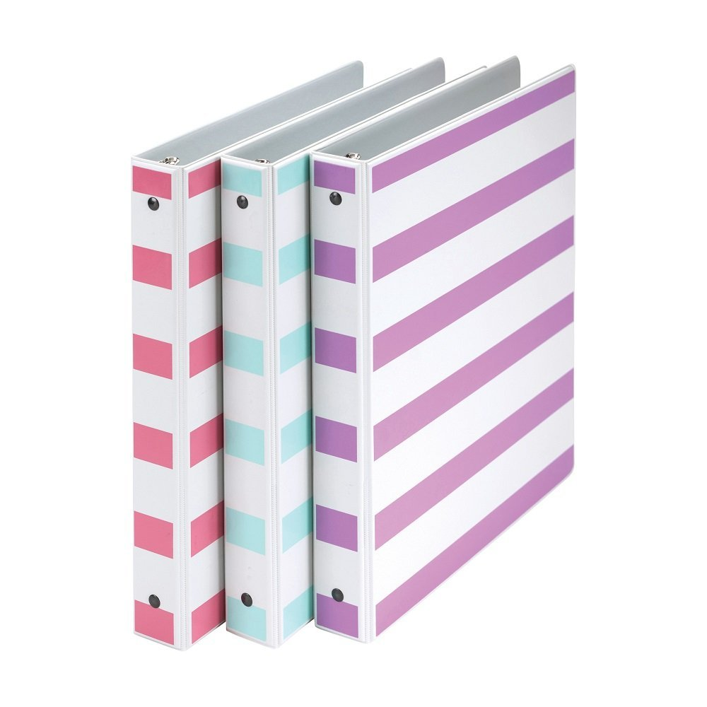 Samsill Stripes Fashion Design 3 Ring Binders, 1 Inch Round Ring - Holds 225 Sheets, Assorted Colors - Purple, Pink, Turquoise - 3 Pack