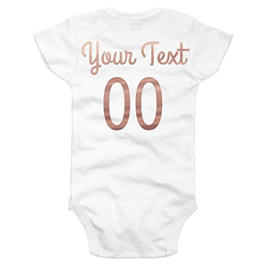 e25cc9494 Amazon.com: Custom Rose Gold Name & Number Baby: Infant Gerber Onesie:  Clothing