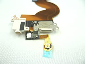 YDLan White Color Headphone Audio Jack Headset Socket Bottom Lighting USB Data/charging Dock Port Connector Home Button Key Flex Ribbon Cable for Ipod Touch 5th Gen 16gb 32gb 64gb