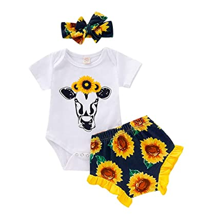 Floral Short Pants with Headband 3Pcs Summer Outfit Set Newborn Baby Girl Clothes Mitiy Sunflower Romper