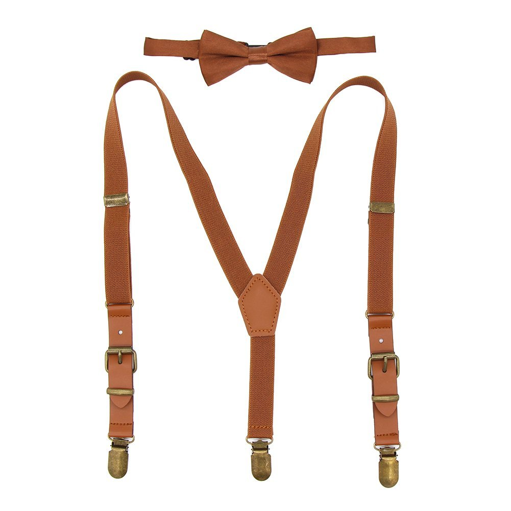 Kids Suspenders and Bow Tie Set Adjustable Elastic Y-back Tuxedo Suspender Braces with Brown Leather & Bronze Clips for Boys Girls Brown