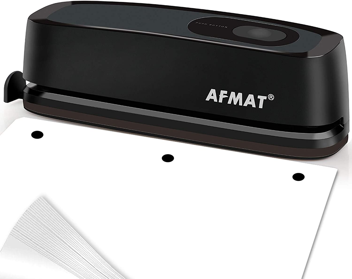 Electric Paper Punch, VEARMOAD 3 Hole Punch Automatic Paper Puncher with 20 Sheet Punch Capacity & AC or Battery Operated, Heavy Duty Durable Hole Puncher for Office School Studio (Black)