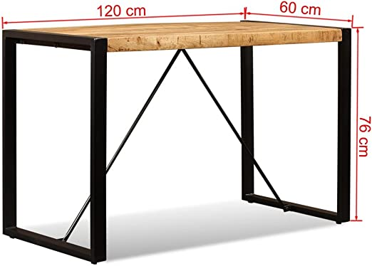 x en x 120 cm Manger Industriel de Festnight Table Manguier Massif 60 à Bois 76 KclF1J