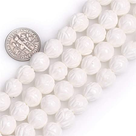 """Natural 6MM White Carving Coral Gemstone Round Loose Beads 15/"""""""