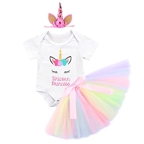 IWEMEK Baby Girls 1st 2nd Birthday Cake Smash Photo Shoot 3pcs Outfits Newborn Infant Princess Halloween Unicorn Costumes Romper Colorful Tutu Skirt