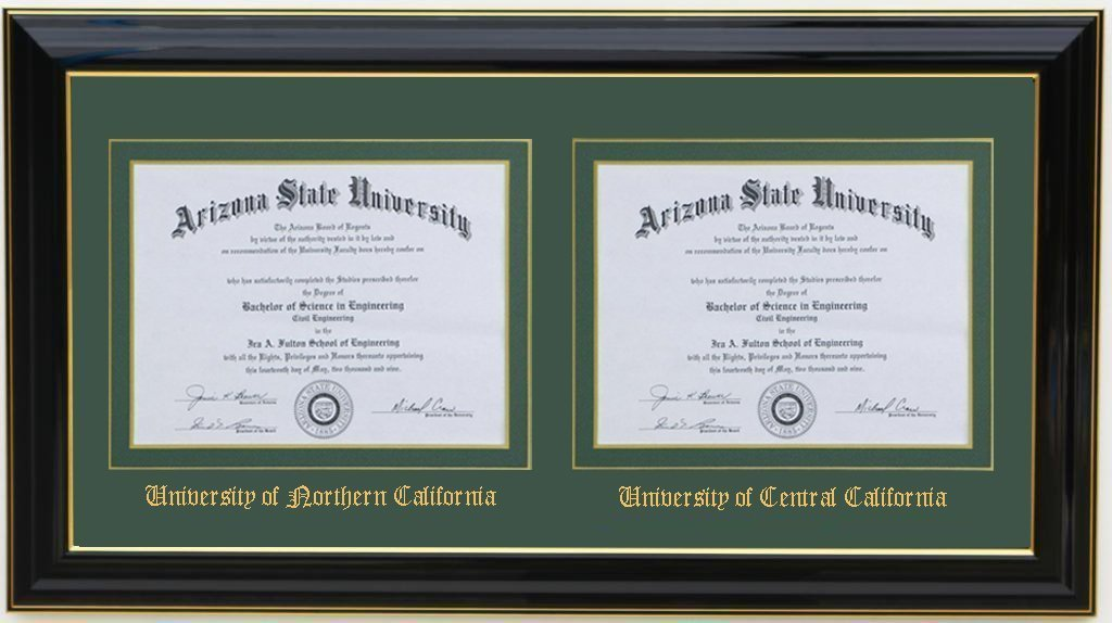 3art Double Diploma Frame 11x8.5 Black (CUSTOMIZABLE) by 3art (Image #3)