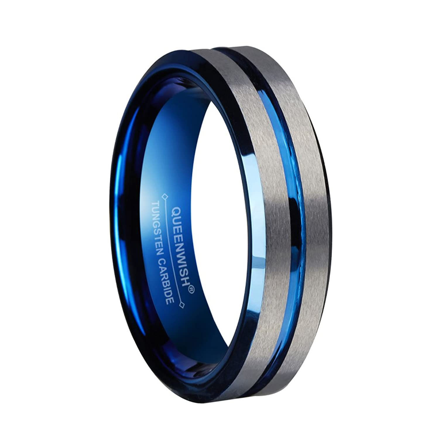 8mm Blue Tungsten Wedding Bands Silver Brushed Engagement  Couples Ringsfort Fit Size