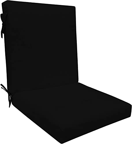 Honeycomb Indoor/Outdoor Sunbrella Canvas Black Highback Dining Chair Cushion: Recycled Polyester Fill Patio Cushions: 21″ W x 43″ L x 4″ T