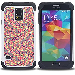 Jordan Colourful Shop - Yellow Abstract Pattern Purple Floral Pill For Samsung Galaxy S5 I9600 G9009 G9008V - < Llevar protecci????n de goma del cuero cromado mate PC spigen > -