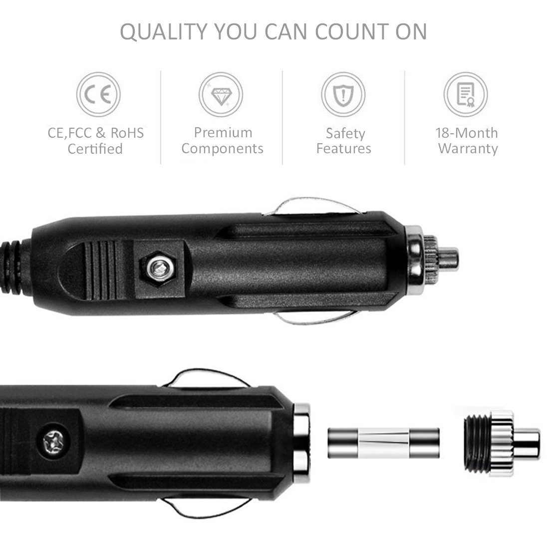 Car Charger Adapter KPPOL 24W 4.8A Dual Smart USB Ports Phone Charger for Mobile Devices Phone X // 8//7 // Plus Pad Pro//Air 2 // Mini Galaxy Note8 // S8 // S8+ and More KPPOL POWER KP-24WB