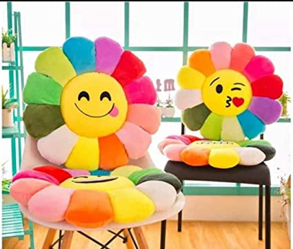 Laying StyleCartoon Throw Pillow Emoticon Sofa Cushion Sunflower Plush Stuffed Toy for Home Party Decoration(Satisfied Smile) (Set of 2)