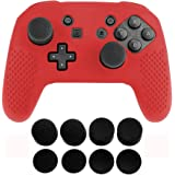 Jadebones Silicone Skin Protective Case with 8pcs Stick Grips for Nintendo Switch Pro Controller (Red)