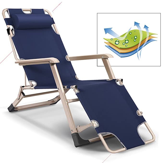 KARMAS PRODUCT Outdoor Reclining Lounge Chairs Adjustable Folding Patio Recliners with Pillow for Pool,Lawn,Beach Dark Blue
