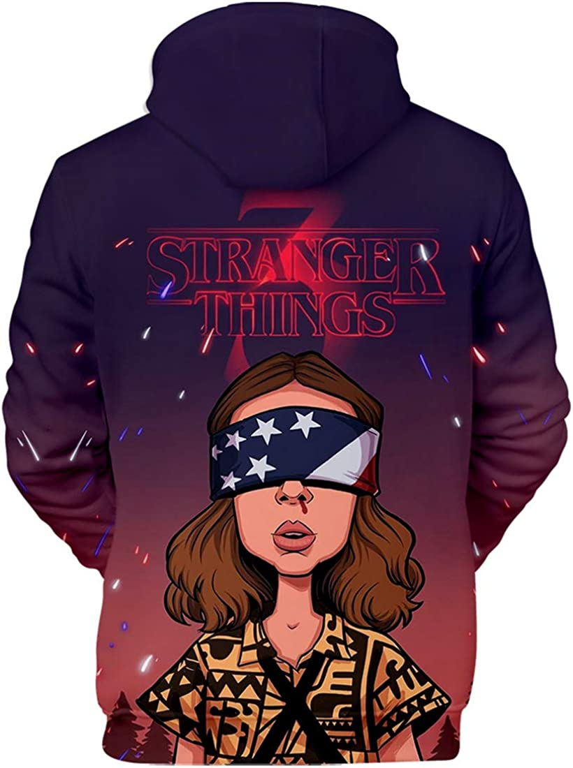 FLYCHEN Felpa Stranger Things 3 New Season per Ragazze 3D Stampato Digitale Select Your Character Portrait Felpe per Adolescenti