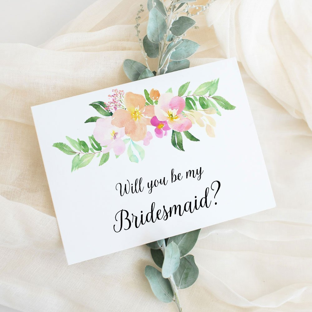 Will You Be My Bridesmaid Card, Wedding Party Proposal Card Choose Maid of Honor, Flower Girl, Wedding Attendant (set of 4 - 8), WYB-17PLC