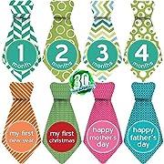 """Original Stick'Nsnap (TM) 30 Baby Monthly Necktie Onesie Stickers - """"Happy Patterns"""" (TM), Green/White. Milestones for 12 Months +18 Bonus"""